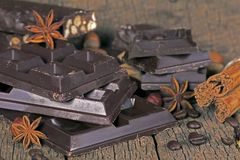 Dark chocolate with nuts Stock Photography