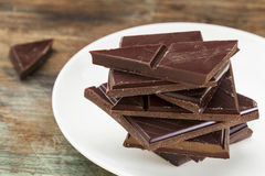 Dark chocolate pieces Royalty Free Stock Photo