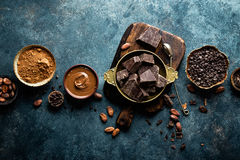 Free Dark Chocolate Pieces Crushed And Cocoa Beans, Culinary Background Royalty Free Stock Image - 88679546
