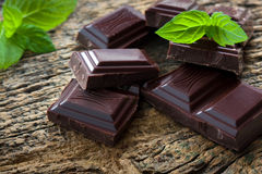 Dark chocolate pieces royalty free stock photos