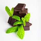 Dark Chocolate pieces with mint herb Stock Photos