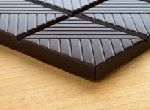 Dark Chocolate Plate on the Wooden Table Royalty Free Stock Photography