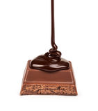 Dark chocolate is poured onto a piece Royalty Free Stock Image