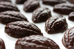 Dark chocolate pralines. royalty free stock photo