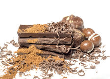 Dark chocolate products and cocoa on the table Stock Photography