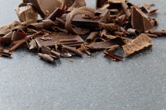 Dark chocolate shavings Stock Images