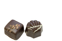 Dark Chocolate Square and Scallop Shaped Stock Images