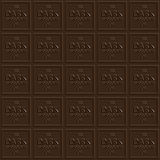 Dark Chocolate Squares. A dark chocolate square that tiles seamlessly as a pattern to make any background or isolated chocolate bar shape that you need Stock Image