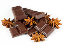Dark chocolate and star anise Stock Photography