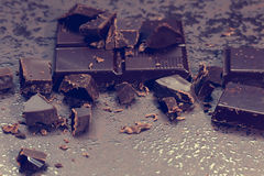Dark chocolate on a stone table Stock Photo