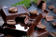 Dark chocolate on a stone table Stock Image