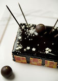 Dark chocolate torte with hand-dipped truffles Stock Photos