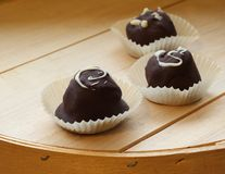 Dark chocolate truffles Royalty Free Stock Photos