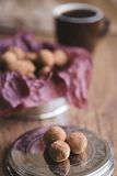 Dark chocolate truffles with cocoa powder Royalty Free Stock Images