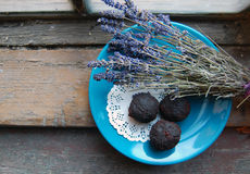 Dark chocolate truffles Stock Photos