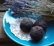 Dark chocolate truffles Royalty Free Stock Images