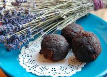 Dark chocolate truffles Stock Photo