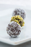 Dark Chocolate Truffles on a Plate Royalty Free Stock Images
