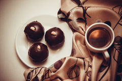 Dark chocolate truffles Royalty Free Stock Image