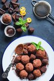 Dark chocolate truffles on white plate decorated with mint leaf royalty free stock photography