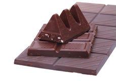 Dark chocolate on white Royalty Free Stock Photo
