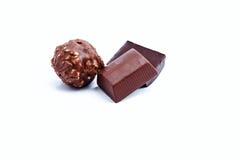 Dark chocolate on a white background Royalty Free Stock Photos