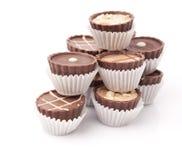 Dark chocolate on white Royalty Free Stock Image