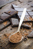 Dark chocolate on wooden table royalty free stock photos