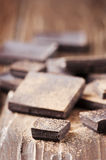 Dark chocolate on the wooden table Stock Photo