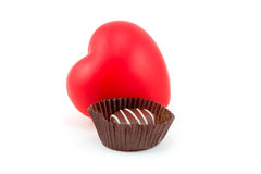 Dark Chocolate in Wrapper with. Dark Chocolate Candy in Brown Wrapper with Heart (6294 Stock Photography