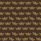 Dark chocolate yellow paper ship pattern Stock Images