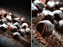 Dark Chocolates Montage Stock Photo