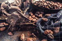 Dark chokolate cocoa beans and powder on concrete table.  royalty free stock photos