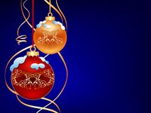 Dark christmas background. Two christmas ball on blue background Stock Photos