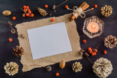 Dark Christmas background with candles and berries of mountain ash. Frame for text. White pine cones. Branches acorns. Royalty Free Stock Image