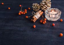 Dark Christmas background with candles and berries of mountain ash. White pine cones. Branches acorns. Royalty Free Stock Images