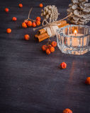 Dark Christmas background with candles and berries of mountain ash. White pine cones. Branches acorns. Royalty Free Stock Image