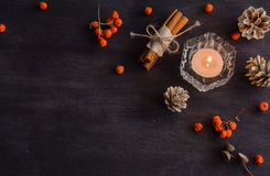 Dark Christmas background with candles and berries of mountain ash. White pine cones. Branches acorns. Stock Images