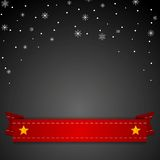 Dark Christmas background with red ribbon Royalty Free Stock Photography