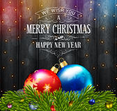 Dark Christmas old-styled background with fir tree and balls Royalty Free Stock Photo