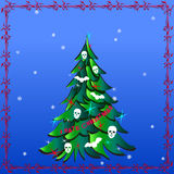 Dark Christmas Tree with Human Skulls, Bats and words I Hate Christmas Stock Photos