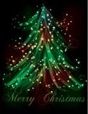 Dark Christmas tree light effect bac royalty free illustration