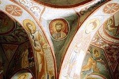 Dark Church. Picture of fresco on the inside of an ancient church in Cappadocia, Turkey Royalty Free Stock Image
