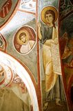 Dark Church. Picture of fresco on the inside of an ancient church in Cappadocia, Turkey royalty free stock photography