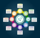 Dark circle colorful chain diagram infographics for presentation. S. Black infographics background template with 8 options. Metaball circular elements with icons stock illustration