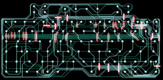 Dark circuit board. Dark colored computer circuit board Royalty Free Stock Photography
