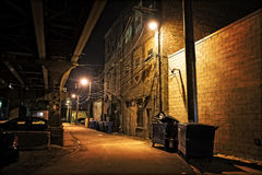 Dark City Alley at Night Royalty Free Stock Photography