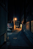 Dark City Alley at Night Stock Image
