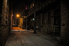 Dark City Alley at Night. Dark Urban Alley at Night royalty free stock photo