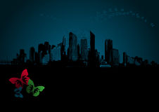 Dark city with butterflies. Vector Stock Images